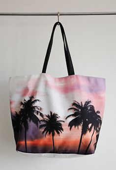 Tropical Sunset Print Tote | Forever 21 - 1000132245