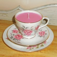 Hearts and Home - home accessories & gifts for all occasions, wedding and event hire. Teacup Candles, Pink Candles, Beautiful Candles, Vintage China, Wedding Bridesmaids, Home Accessories, Personalized Gifts, Tea Cups, Hand Painted