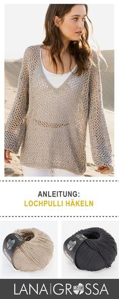 """Angesagten Netzpulli häkeln mit Lana Grossa """"Classico"""" - kostenlose Strickanleitung / free knit pattern for net sweater via lanagrossa.de"""