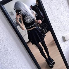 Black Milk and White Silk Edgy Outfits, Grunge Outfits, Cute Outfits, Fashion Outfits, Neutral Crop Tops, Black Crop Tops, Young Fashion, Dark Fashion, Moda Ulzzang