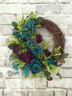 Teal and Plum Silk Flower Wreath, Grapevine Wreath, Front Door Wreath, Fall Wreath, Etsy - Welcome your guests into your home with this Wreath Crafts, Diy Wreath, Grapevine Wreath, Wreath Ideas, Silk Flower Wreaths, Floral Wreath, Purple Wreath, Silk Flowers, White Wreath