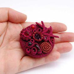 Crochet art crochet brooch unusual brooch one of a kind door elinart
