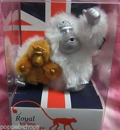 Kipling Baby Prince & Duchess Cambridge Royal Monkey Key Ring, Kate & George BNB