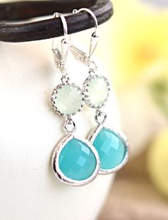 Small Turquoise Teardrop and Mint Drop Dangle Earrings in Silver. Bridesmaids Jewelry. Glass Drop Earrings. Dangle Earrings. Gift.