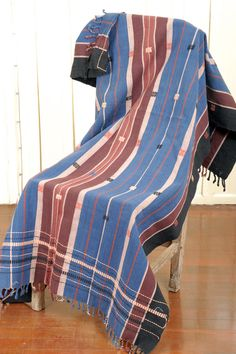 Naga textile blanket tribal textile hand woven cotton blue indigo from Burma Apr20