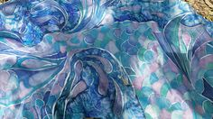 Hand Painted Silk Scarf with Mermaid's tail and sea design