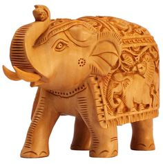 Bulk Wholesale Hand-Carved Kadam-Wood Statue / Sculpture of 'Elephant with Intricate Traditional Motif Carving on its Body'– Traditional-Look Home Décor Item