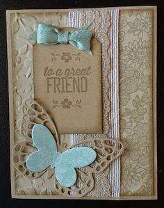 Stampin' Up! Butterfly thinlits, something lacy, sahara sand ribbon, spring flowers embossing folder, Kards by Kadie