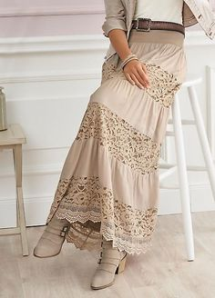 Tiered maxi skirt with lace inserts and an elasticated waistband. Linea Tesini S… Tiered maxi skirt with lace inserts and an elasticated waistband. Hippie Outfits, Mode Outfits, Girly Outfits, Modest Fashion, Boho Fashion, Fashion Dresses, Womens Fashion, Fashion Shirts, Modest Clothing