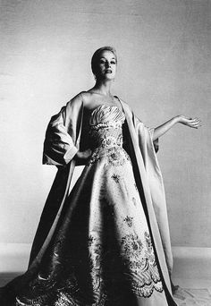 1956 Barbara in exquisitely embroidered evening gown by Balmain, photo by Willy Maywald