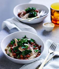 Braised chicken with pancetta, borlotti beans and kale
