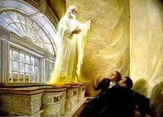 """""""We saw the Lord standing upon the breastwork of the pulpit, before us; and under his feet was a paved work of pure gold, in color like amber."""" D&C Jesus appears to Joseph Smith and Oliver Cowdery in the Kirtland Temple Joseph Smith, Kirtland Temple, Lds Pictures, Church Pictures, Jesus Pictures, Images Of Christ, Doctrine And Covenants, Lds Art, Mormons"""