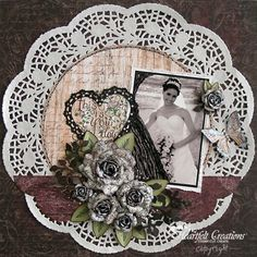 Wedding scrapbooking layouts - interesting use of paper doilies, has potential as base layer on page.