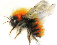 Biene-Aquarell - Bumble Bee-Giclée-Druck. Natur-Illustration. Honig Biene, fliegende Biene, schöne Biene Kunst Wohnheim Dekor Wand