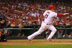 Allen Craig hits an RBI single against the Houston Astros in the sixth inning. Card won the game 9-5.  7-09-13