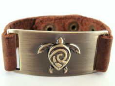 Turtle Leather Bracelet, Adjustable 1000K' ways. $24.50. Fits from 5 1/4 inches to 7.5 inches wrist. Genuine leather Bracelet with three snaps option.. Plate is 7/8 inches x 1 3/4 inches