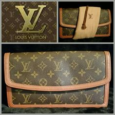Vintage LV Monogram Pochette Dame PM Clutch This is in beautiful usable condition.  ♢The canvas is clean & doesn't show any cracks. ♢The leather trim shows slight signs of wear on some edges.  ♢The gold coated clasp is in good working condition.  ♢All original stitching remains in tact.  ?The interior is spacious & clean except a faint pen mark on the underside of the flap(pic 4). ♢The zip pocket is clean & usable & zipper runs smoothly. No smells. ♢Date Code: 883 TH. ♢Includes Original dust…