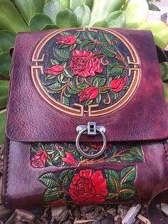 Purse - Bag / Leather / Women / Red,Rose, Garden / Custom / Messenger Bag / Organizer / Custom / Hand Carved and Tooled /  Hand Made