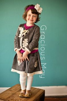 Grey Linen and Ivory Lace Little Girls Cardigan Jacket by Gracious May | Vintage Style Baby, Toddler, and Children's Fall Winter Jacket | MADE IN THE USA Children's Clothing