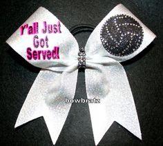 "Volleyball bow ""Y'all Just Got Served!"" On 2 1/4 ribbon/fabric rhinestones - $15 plus $3 shipping email bowbratz@hotmail.com to order FB:bowbratzcheer IG:bowbratzbowbratz #volleyball"