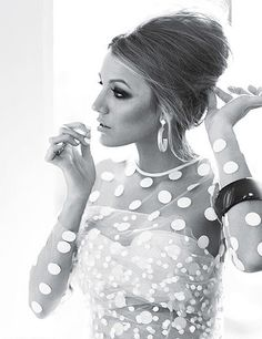 Blake Lively wearing Stella McCartney sheer polka dot dress. She looks amazing!