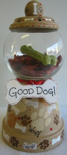 Good Dog Terra Cotta Dog Treat Jar by SunburstOutdoorDecor on Etsy