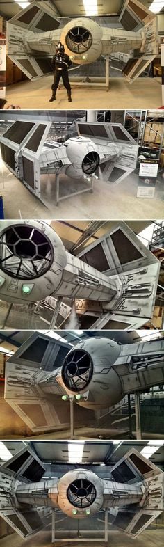 It took an army of hobbyists two years to complete, but the 1:2 scale Tie Fighter recently unveiled in Eichenzell, Germany, is a true DIY masterpiece. 20 Star Wars fans of different professions, from financial brokers to policemen and architects, put their blood and tears into this 5.30 m wide, 4.80 m long, 4.30 m high and 1.4 tons heavy model of the Galactic Empire's starfighter.: