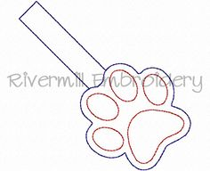 $2.95Paw Print Outline In The Hoop Snap Tab Key Fob Machine Embroidery Design