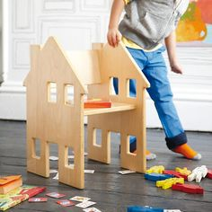 House Sitter Play Chair - A child's chair that doubles as a doll house. (But its not just for girls, and certainly not just for dolls! Kiddos could equally love this for cars, animal figures, and other make believe!)