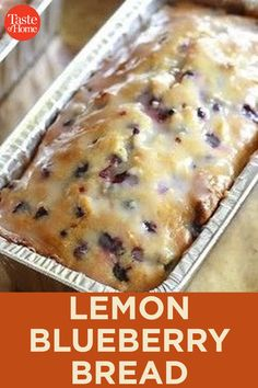 Bread Cake, Dessert Bread, Blueberry Recipes, Blueberry Lemon Bread With Glaze, Healthy Blueberry Bread, Blueberry Crumble, Easy Desserts, Dessert Recipes, Minnesota