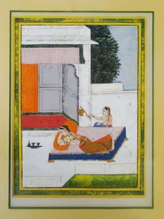Early 19th century Indian miniature painting, from the 'Jaipur School,' most likely from an illustrated manuscript of the period.