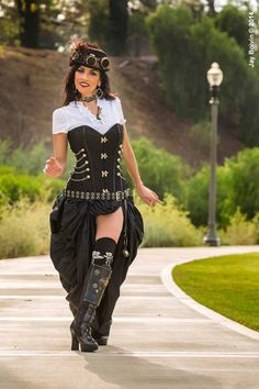 Steampunk Dickens Victorian Corset with Bustle Skirt MajesticVelvets.com
