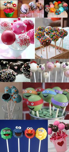 Popcake-Collage - Cake pops & more - Kuchen Cake Pop Bouquet, Cake Cookies, Cupcake Cakes, Cake Pop Designs, Salty Cake, Candy Apples, Butter Chicken, Cakes And More, Amazing Cakes