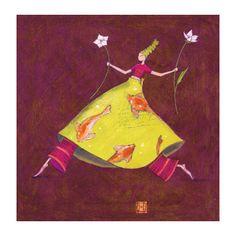 "Carte double Gaëlle Boissonnard ""Femme fleur fond grenat"""
