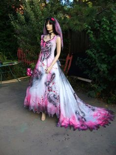 Pink Brains Undead Zombie Bride Prom Queen by ChaoticCouture22