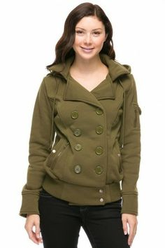 FLEECE DOUBLE BREAST BOMBER COAT WITH HOODIE IN WOMEN'S TRUE PLUS SIZE. #salediem #coats #winter