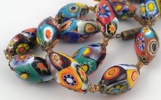 Antique-Vintage-Art-Deco-Venetian-Murano-Millefiori-Glass-Bead-Necklace-18