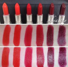 MAC lipsticks: from left to right- So Chaud, Lady Danger, Ruby Woo, Russian Red, Diva, Hang Up. (Middle pic with flash; bottom pic no flash)