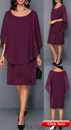 Chiffon dress - 39 Round Neck Burgundy Overlay Embellished Chiffon Dress 39 Round Neck Burgundy Overlay Embellished Chiffon Dress liligal dresses The post 39 Round Neck Burgundy Overlay Embellis Mom Dress, Dress Skirt, Lace Dress, Elegant Dresses, Casual Dresses, Formal Dresses, Diy Outfits, Party Outfits, Club Party Dresses