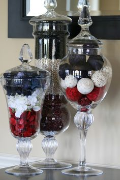 I LOVE Apothecary Jars!  Fill them with holiday theme items and find some cute things for everyday! :)