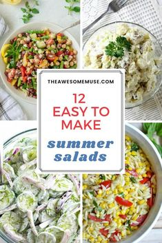 12 delicious, healthy summer salad recipes will be a hit with your family. On a hot summer day, there's nothing more refreshing than serving a wholesome, yummy salad. You may enjoy trying some of these recipes like the Greek Three Bean Salad, Potato Salad, Roasted Corn and Orzo Salad, and Creamy Cucumber Salad. #roastedcorn #orzo #cucumbersalad #potatosalad #threebeansalad