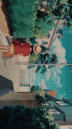 Studio Ghibli Art, Studio Ghibli Movies, Aesthetic Art, Aesthetic Anime, Studio Ghibli Background, Heart Poster, Cute Cartoon Characters, Castle In The Sky, Painting Studio
