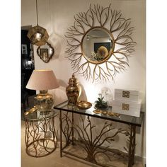 Buy Large Round Mirror Gold Twigs 110 cm online now, with Free UK Delivery Large Round Mirror, Round Mirrors, Small Lounge, Entryway Tables, Menorca, Create, Unique, Interior, Hooks