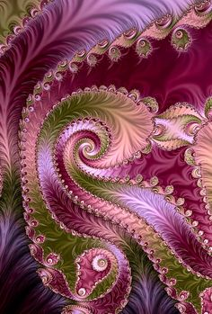 Fractal in silky pink, purple, gold colors. Art Fractal, Fractal Geometry, Fractal Images, Fractal Design, Sacred Geometry, Fractal Patterns, Optical Illusions, Fantasy Art, Cool Art