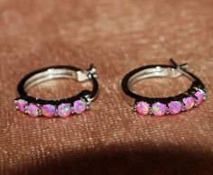 pink fire opal earrings gemstone silver jewelry cocktail delicate stud circle  #Stud