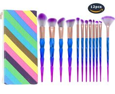 Unicorn Makeup Brush Set 12 pcs Professional Face Foundation Powder Blender Eyeshadow Cosmetic Brushes Beauty Tools Kits with Case. 12 pcs Diamond Unicorn Makeup Brushes Kit suitable for professional and home daily use. Easy to Stick Powder, compatible with any type of foundation, cream, powder and blush. Effortlessly buff and blend your make-up onto the skin, natural color, rendering uniform. The high-density synthetic Hairs make the brush set more sturdy, No loose bristles when the…