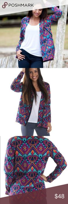 💥Just in💥 Prism Jersey Cardigan This comfy stretch cardigan features a diagonal zip closure- Perfect worn open or closed for a fall trendy look.  96% / 4% spandex Sweaters Cardigans