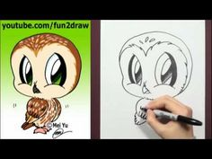 How to Draw a Cartoon Owl - How to Draw Birds Easy - Animal drawings Bird Drawings, Love Drawings, Animal Drawings, Drawing Sketches, Drawing Ideas, Chibi Drawing, Drawing Tutorials, Drawing Cartoon Characters, Character Drawing