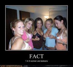 1 out 5 women are lesbians #lesbianmeme