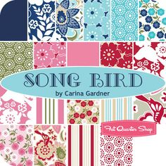 fabric line to watch for: song bird, carina gardner for riley blake designs. like the reds and pinks...
